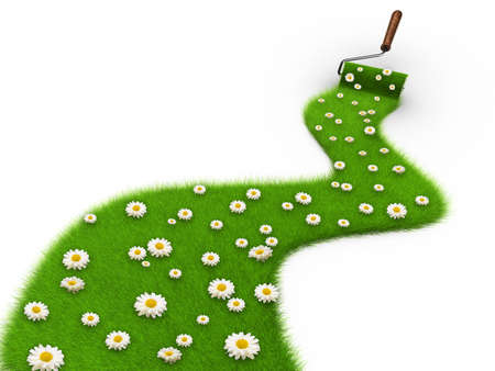 Paint roller painting a path covered with grass and daisy flowers - 3d render and composite
