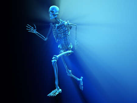 Human skeleton running - 3d render illustration