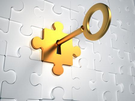 Photo pour Golden key and puzzle pieces - 3d render illustration - image libre de droit