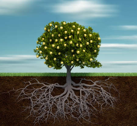 Tree with golden apple - this is a 3d render illustration