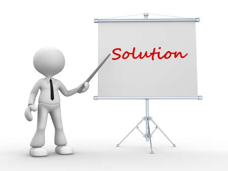 3d people - man, person pointing a flip board and word Solution