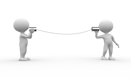 Photo for 3d people - men, person talking on a homemade can phone. - Royalty Free Image