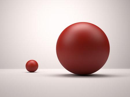 Foto de 3d red spheres. Big and small - Imagen libre de derechos