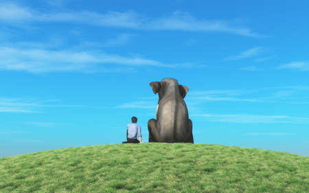 Photo pour Man and an elephant sits on top of  a hill and look to the horizon together. This is a 3d render illustration - image libre de droit