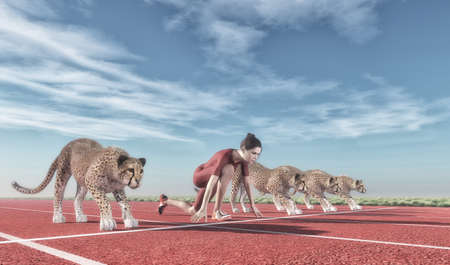 Photo pour Athletic woman competes with cheetahs on track starting to run.  This is a 3d render illustration - image libre de droit