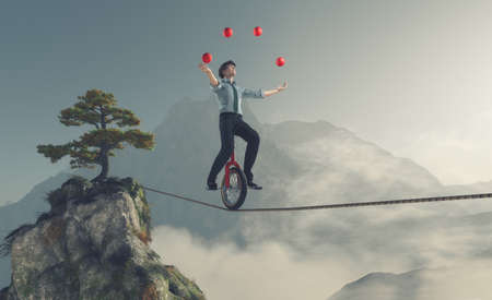 Foto de Juggler is balancing on rope with a bike between two mountains. This is a 3d render illustration - Imagen libre de derechos