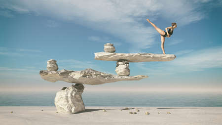 Foto de Young gymnast doing ballet on stones in balance. This is a 3d render illustration - Imagen libre de derechos