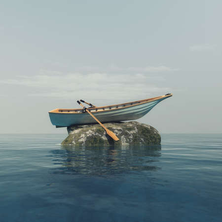 Photo pour A boat on top of a rock in the middle of the ocean. This is a 3d render illustration - image libre de droit