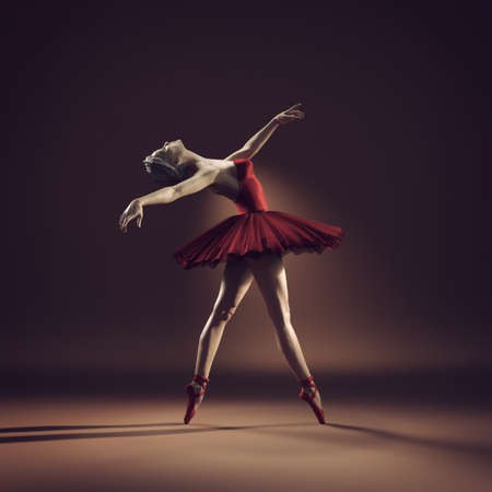 Young and beautiful ballerina with red tutu. This is a 3d render illustration.