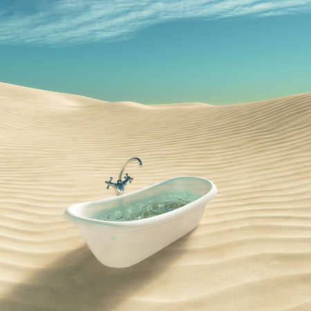 Bathtub full of water in the middle of desert. This is a 3d render illustration
