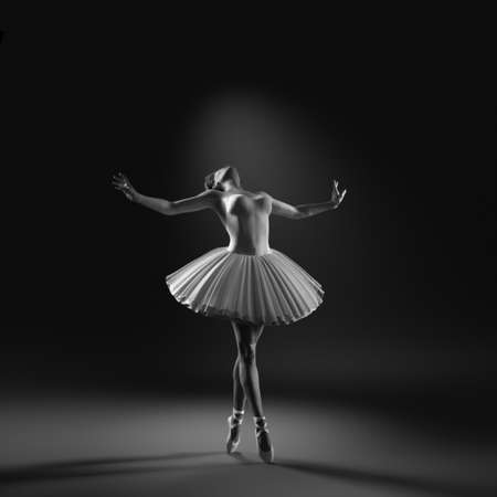 Photo pour Young and beautiful ballerina with white tutu. This is a 3d render illustration. - image libre de droit