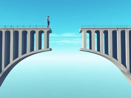 Foto de Man in front of a broken bridge. This is a 3d render illustration - Imagen libre de derechos