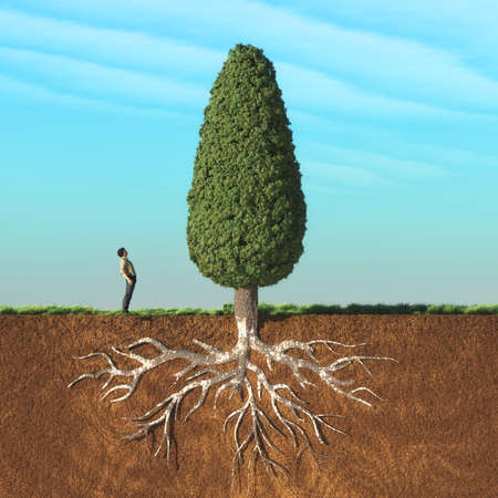 Photo pour A man look up a big tree in two layers , with roots underground. This is a 3d render illustration - image libre de droit
