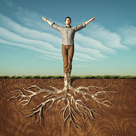 Foto für Image of a man that has taken root in the ground. This is a 3d render illustration - Lizenzfreies Bild