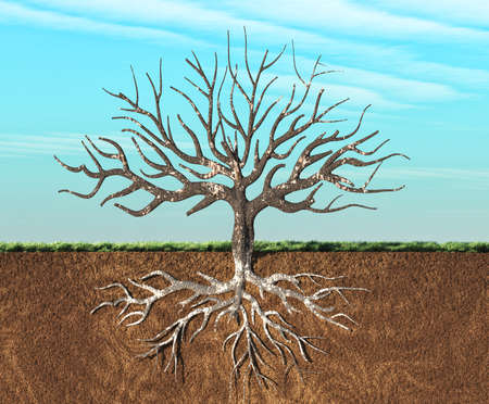 Foto de An image of a tree stylish seen in two layers , with roots underground. This is a 3d render illustration - Imagen libre de derechos