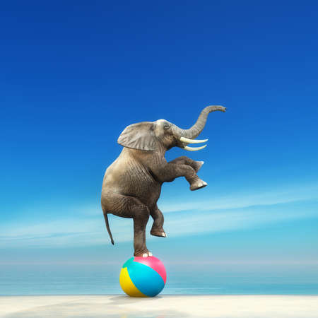 Foto de An elephant on a beach ball on the seashore. This is a 3d render illustration - Imagen libre de derechos