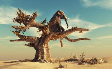 Photo pour Elephant in a dry tree in surreal landscape. This is a 3d render illustration - image libre de droit