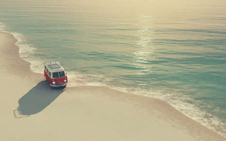 Photo for A red car on the sandy beach. This is a 3d render illustration. The car is a generic model. - Royalty Free Image