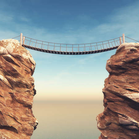 Photo pour Old bridge over between two big rocks. This is a 3d render illustration - image libre de droit