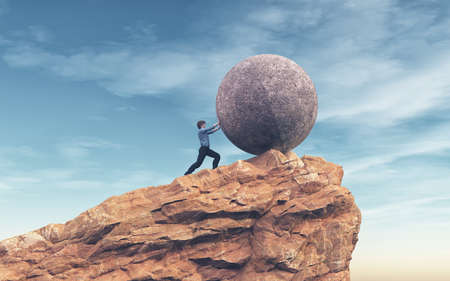 Photo pour Man pushing a large stone to the top of the mountain.  Success concept. This is a 3d render illustration - image libre de droit