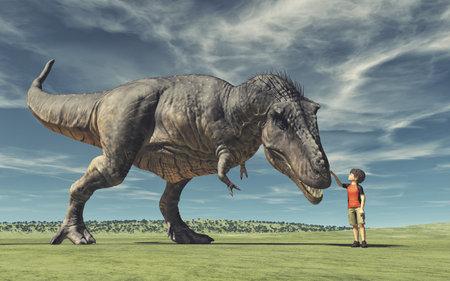 Foto de A boy and a big dinosaur. Conceptual image. This is a 3d render illustration.  - Imagen libre de derechos