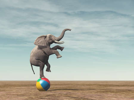 Photo for Surreal image of an elefant balancing on a beach ball - 3d render illustration - Royalty Free Image