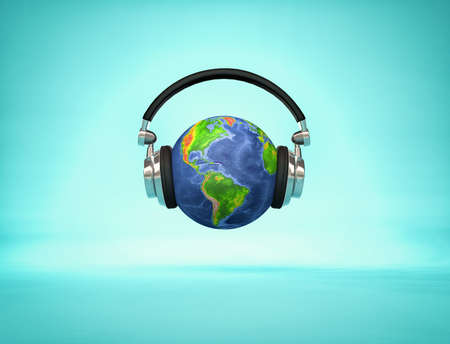 Listening the world - headphone on Earth globe showing American continents. 3d render illustration