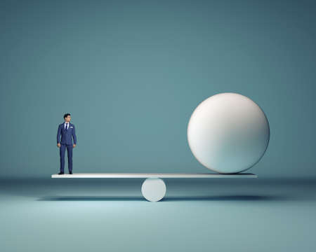 Photo for Businessman and a white sphere sitting in balance - 3d render - Royalty Free Image