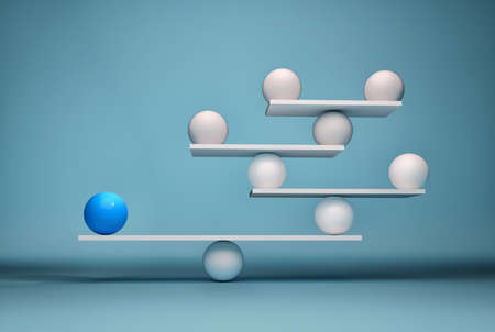 Foto de Leadership balancing the team - sfere in balance. This is a 3d render illustration - Imagen libre de derechos