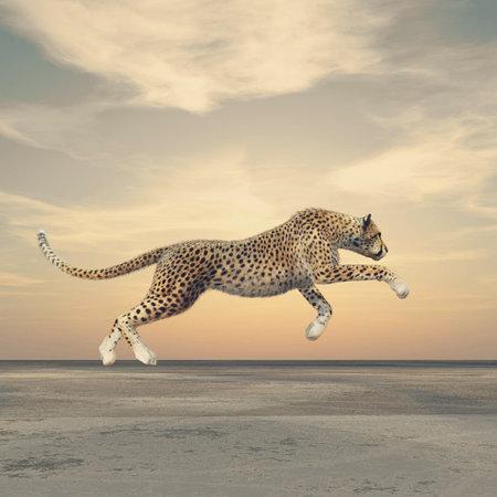 Foto de The beauty of a cheetah who running. This is a 3d render illustration - Imagen libre de derechos