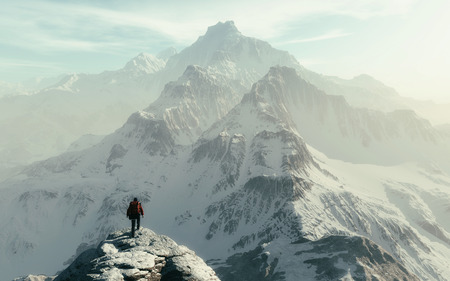 Foto de Conceptual image of a man hiker with backpack in front of a mountain - 3d illustration - Imagen libre de derechos