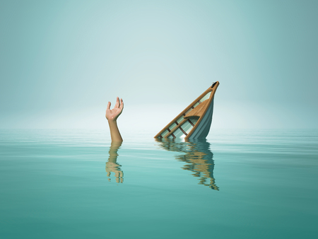 Photo pour The person who sinks with the boat.This is a 3d render illustration - image libre de droit