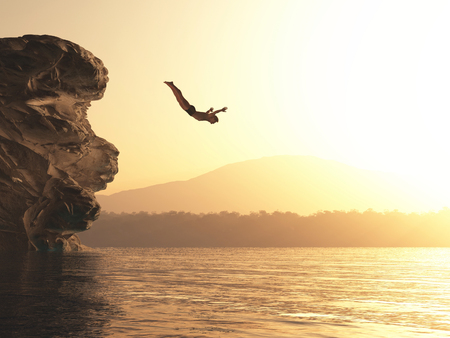 Foto de The young man jumps into a lake. This is a 3d render illustration - Imagen libre de derechos