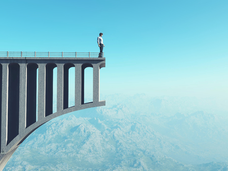Photo pour Man standing on a broken bridge. Man standing at the end of the road on a bridge. This is a 3d illustration. - image libre de droit