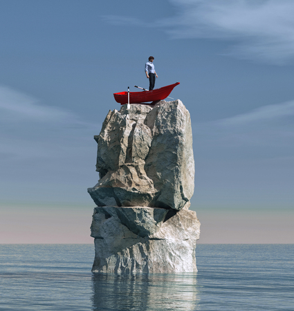 Photo pour Man in a boat stuck on a big rock in the middle of the ocean. This is a 3d render illustration - image libre de droit