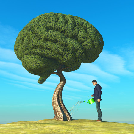 Foto de Man watering human brain shaped tree. Education concept. This is a 3d render illustration - Imagen libre de derechos