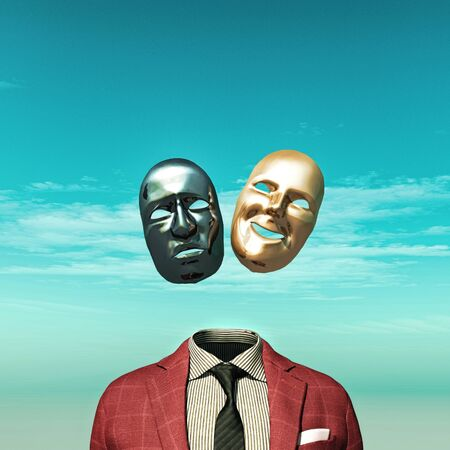 Photo pour Headless person with two face mask above suit. - image libre de droit