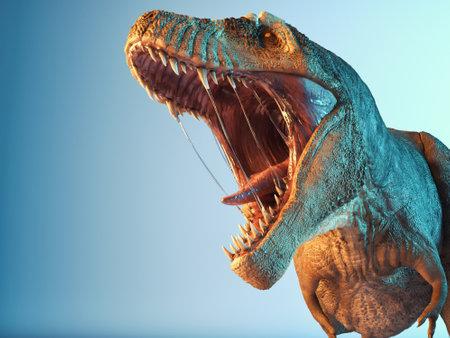 Photo pour T rex close up roar in the studio. This is a 3d render illustration. - image libre de droit
