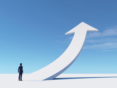 Foto de Businessman looks to a white arrow rising up. This is a 3d render illustration . - Imagen libre de derechos