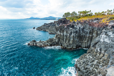 Photo for Jungmun Daepo Coast Jusangjeolli Cliff in Jeju island, South Korea. - Royalty Free Image