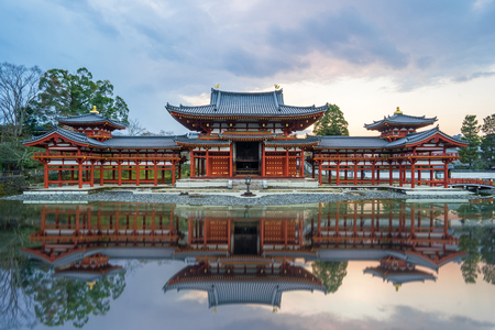 Kyoto Japan- December 31 2015: Byodo-in is a Buddhist temple in the city of Uji in Kyoto Prefecture Japan. It is jointly a temple of the Jodo-shu Pure Land and Tendai-shu sects.