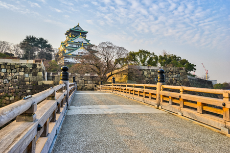 Osaka, Japan- January 5, 2016: Osaka Castle is a Japanese castle in Chuo-ku Osaka Japan. The castle is one of Japan's most famous landmarks and it played a major role in the unification of Japan.