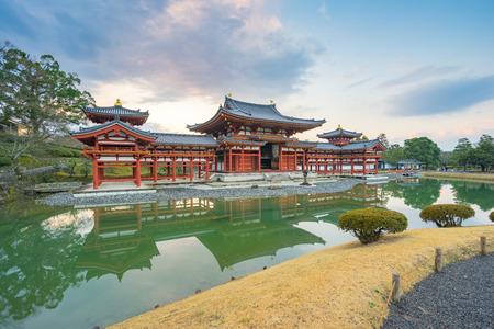 Kyoto, Japan - December 31, 2015: Byodo-in is a Buddhist temple in the city of Uji in Kyoto Prefecture, Japan. It is jointly a temple of the Jodo-shu (Pure Land) and Tendai-shu sects.