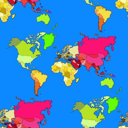 seamless pattern world map continents and countries vector ...