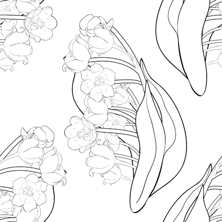 Illustration pour seamless pattern coloring flower lily of the valley vector illustration - image libre de droit