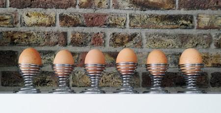 Photo pour Row of brown eggs on shelf - image libre de droit