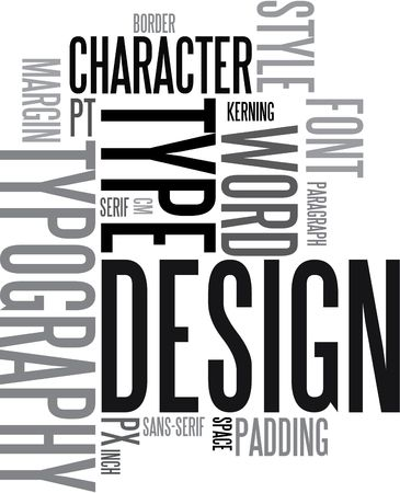 Design and typography background - black and white words
