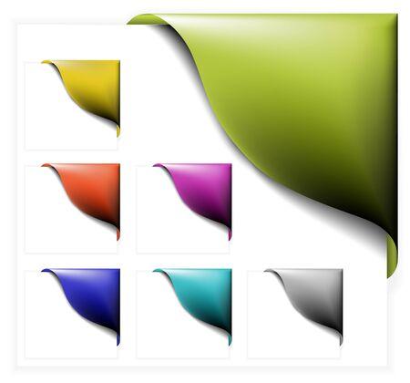 Set of colorful corner ribbons on white