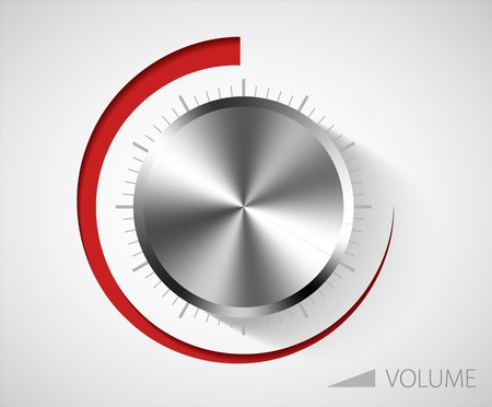 Chrome volume knob with scale on white background