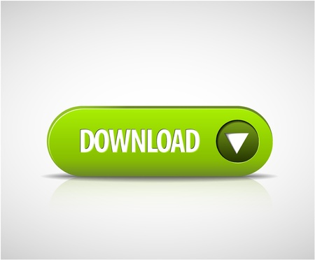 Big green download now button with shadow and reflections